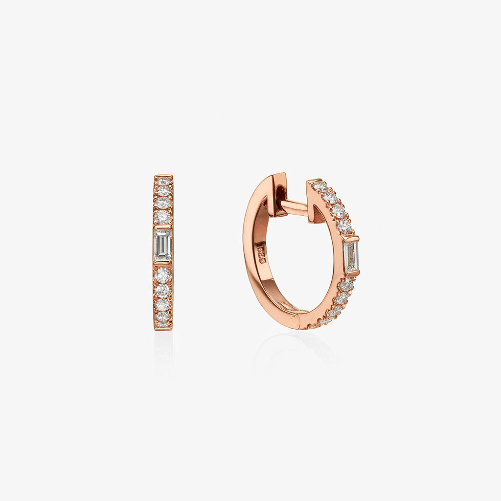 18K rose gold baguette diamond Hoopers