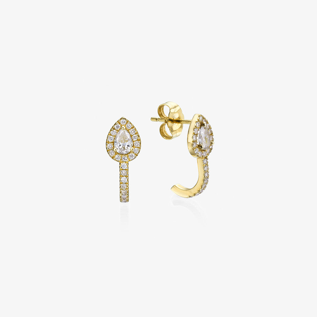 18K yellow gold Pear shape diamond Earrings