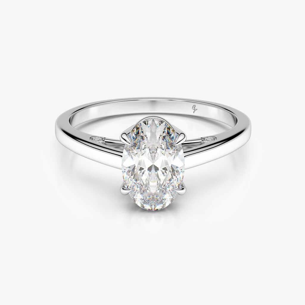 diamond gold in stone tapered ring engagement rings side three and baguette stones cut white center with oval