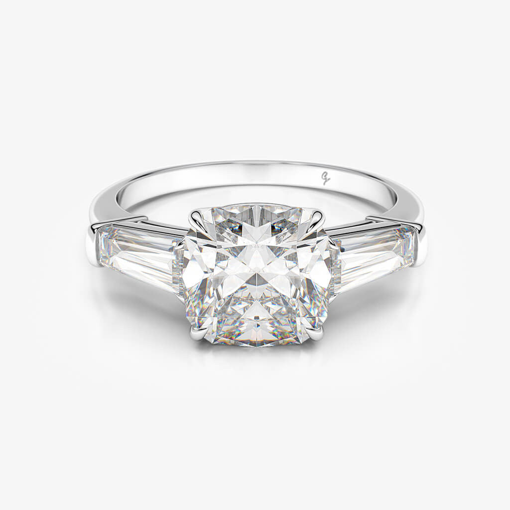 engagement tapered products diamond maxine center setting ring img moissanite baguette rings