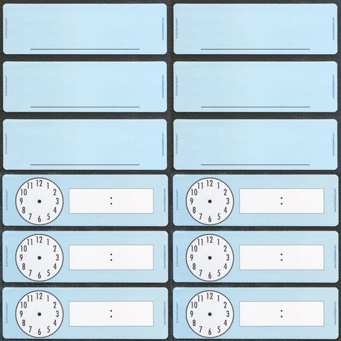 Set of 12 Classroom Magnets - 6 Blanks and 6 Clocks