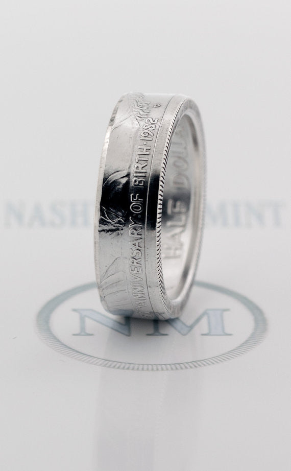 1982 Silver Coin Ring George Washington 90% Silver Proof Half Dollar Wedding Band Size 7-17 35th Birthday Gift 35 Year Anniversary Rings