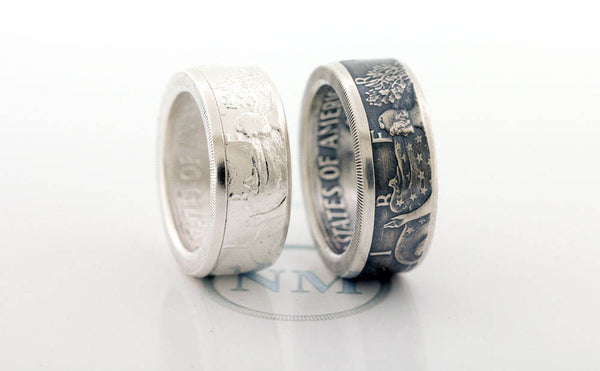 1992 Silver Dollar Coin Ring SAE American Eagle Size 10-24 Silver 25th Wedding Anniversary Band Gift Big Large Wide Walking Liberty CoinRing