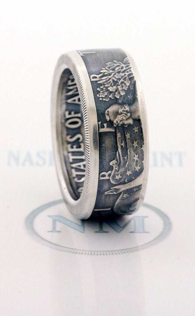 2018 Silver Dollar Coin Ring SAE American Eagle Size 10-24 Silver Wedding Anniversary Band Gift Big Large Wide Walking Liberty CoinRing