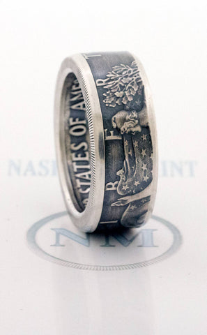 2013 Silver Dollar Coin Ring SAE American Eagle Size 10-24 Silver Wedding Anniversary Band Gift Big Large Wide Walking Liberty CoinRing