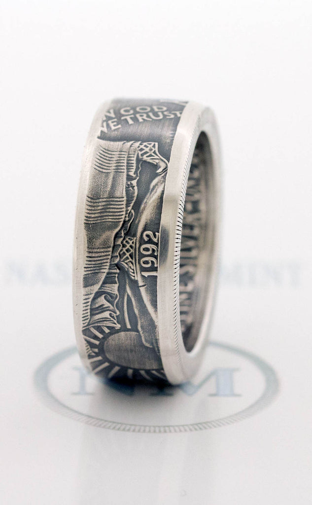 1992 Silver Dollar Coin Ring SAE American Eagle Size 10 24 Silver 25th  Wedding Anniversary
