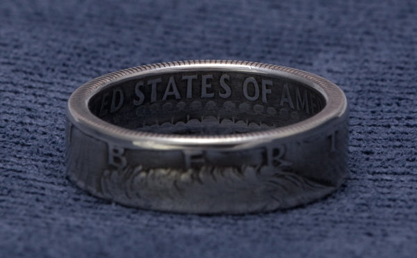 1969 JFK Kennedy US Half Dollar Coin Ring Wedding Band 40% Silver Sz 7-17 Double Sided Antique Finish 48th Birthday Gift 48 Yr Anniversary