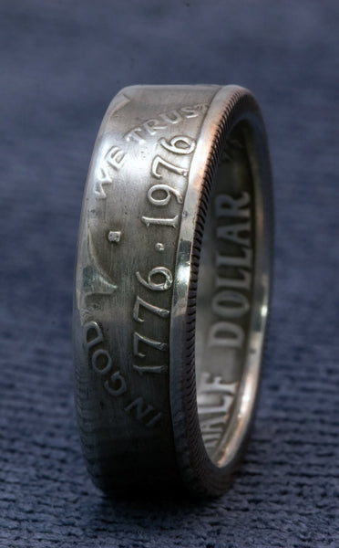 1976 Silver Coin Ring 40% Silver US Half Dollar JFK Kennedy Double Sided Size 7-17 41st Birthday 41 Year Wedding Anniversary Gift Men's Ring