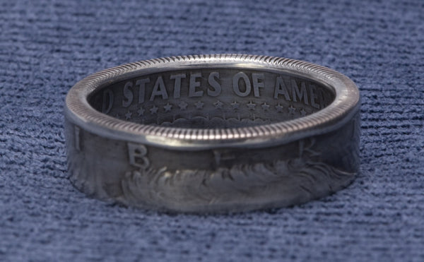 1965 JFK Kennedy Coin Ring 40% Silver US Half Dollar Double Side Coin Rings 52nd Birthday Gift Silver 52 Year Wedding Anniversary Sz 7-17