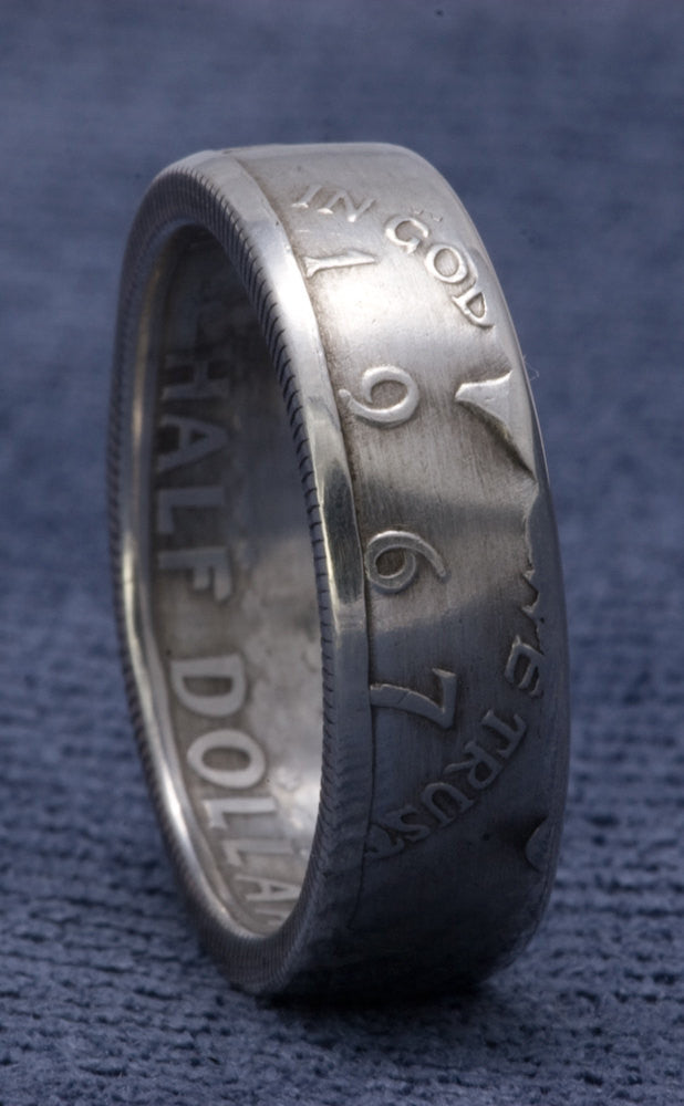 1967 40% Silver US Half Dollar Coin Ring JFK Kennedy Size 7-17 50th Birthday Gift 50 Year Wedding Anniversary Replacement Band