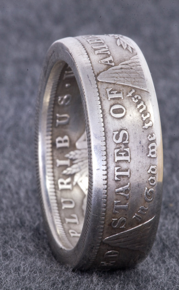 1921 Silver Morgan Dollar Coin Ring Double Sided Size 10-22 Half Unique Gift Men's Large 3D Coin Ring Wedding Band 96th Birthday Gift
