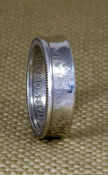 2002 LA Louisiana State 90% Silver Quarter Dollar Coin Ring Double Sided 15th Anniversary Gift 15 Year Old Birthday Gift Sizes 3-11