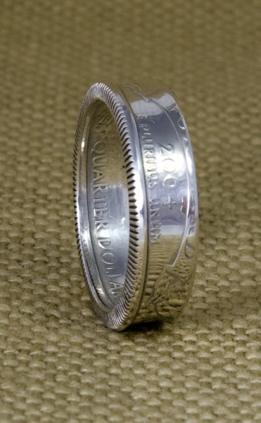 2004 US State Quarter Dollar 3D Coin Ring Double Sided WI Wisconsin Statehood 13 Year Anniversary Gift Wedding Band 90% Silver Sizes 3-11