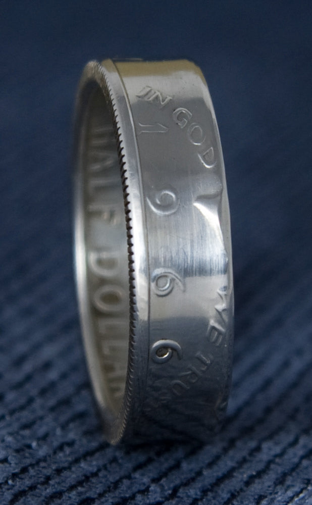 1966 Polished JFK Kennedy 40% Silver US Half Dollar Double Side Coin Ring Sz 8-16 51 Year Wedding Anniversary 51st Birthday Gift Silver Band