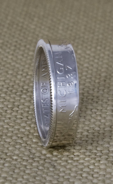 2004 Silver Coin Ring State Quarter Dollar Size 3-13 Michigan Florida Texas Iowa Wisconsin 13 Year Wedding Anniversary Band 13th Birthday