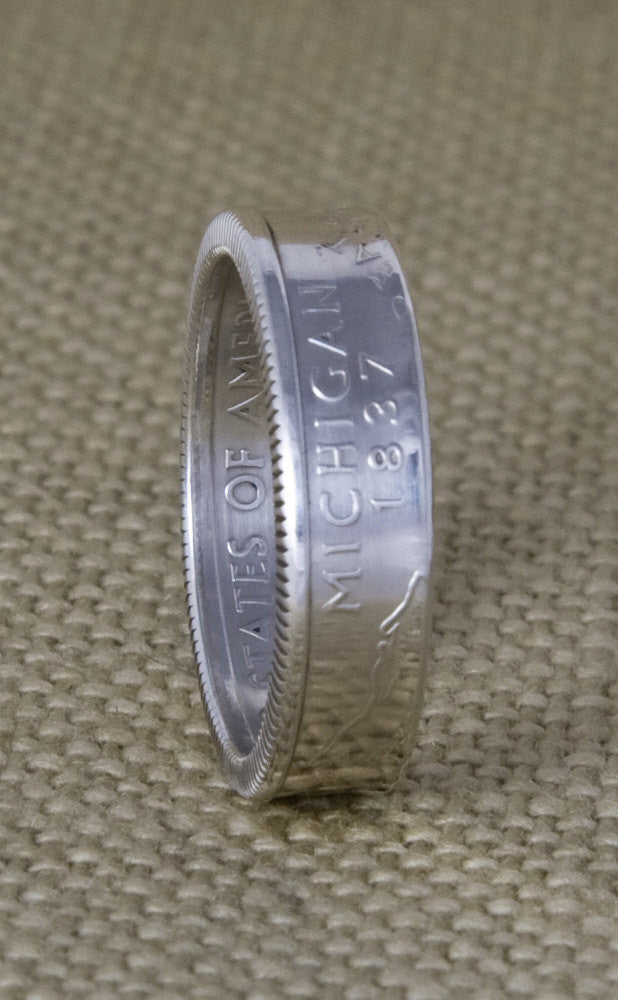 2001 Silver Coin Ring State Quarter Dollar Size 3-13 New York North Carolina Rhode Island Vermont Kentucky 15 Year Wedding Anniversary Band