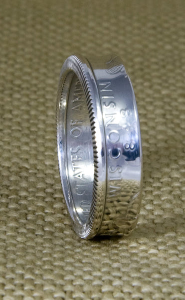 2005 Silver Coin Ring State Quarter Dollar Size 3-13 California Minnesota Oregon Kansas West Virginia 12 Year Wedding Anniversary 12th Band