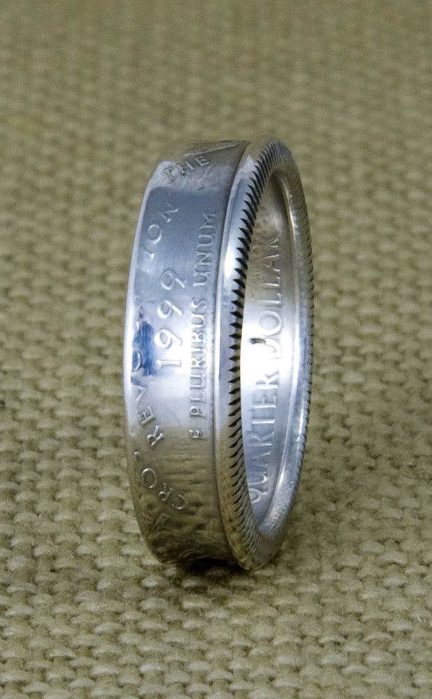 1999 90% Silver US State Quarter Dollar Coin Ring Size 3-13 Delaware Pennsylvania New Jersey Georgia Connecticut 18th Birthday Gift 18 Band