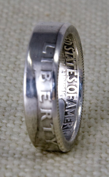 1964 90% Silver Coin Ring Washington US Quarter Dollar Double Sided Wedding Band Sizes 3-13 53rd Birthday 53 Year Anniversary Silver Band 3D