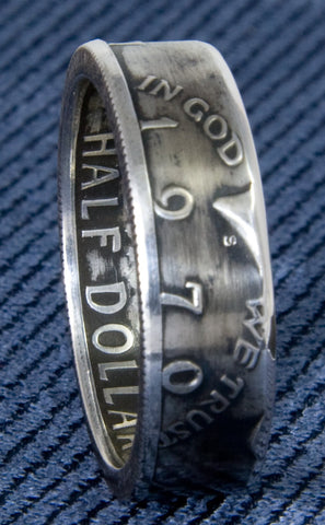 1970 JFK Kennedy 40% Silver US Half Dollar Double Sided Coin Ring Size 7-17 47th Birthday Gift Silver Coin Rings 47 Year Wedding Anniversary