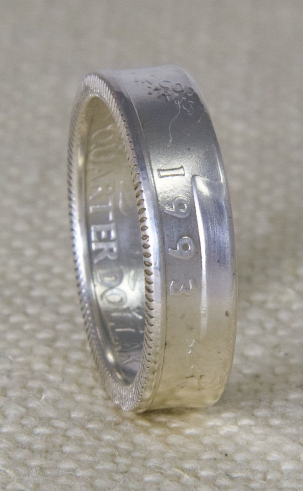 1993 Washington US Quarter Dollar Coin Ring Band 90% Silver Sizes 3-13 Unique 24th Birthday Gift 24 Year Wedding Band Silver Anniversary