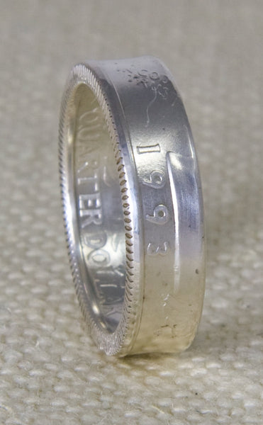 1993 Washington US Quarter Dollar Coin Ring Band 90% Silver Sizes 3-13 23rd Birthday Gift 24 Year Wedding Anniversary