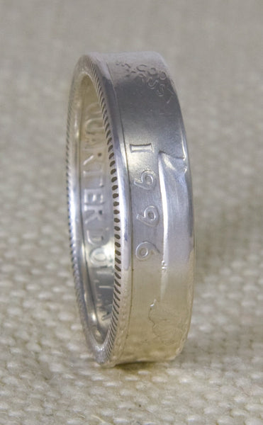 1997 Silver Washington US Quarter Dollar Coin Ring Wedding Band Sizes 3-13 20th Birthday 20 Year Anniversary Gift 90% Silver