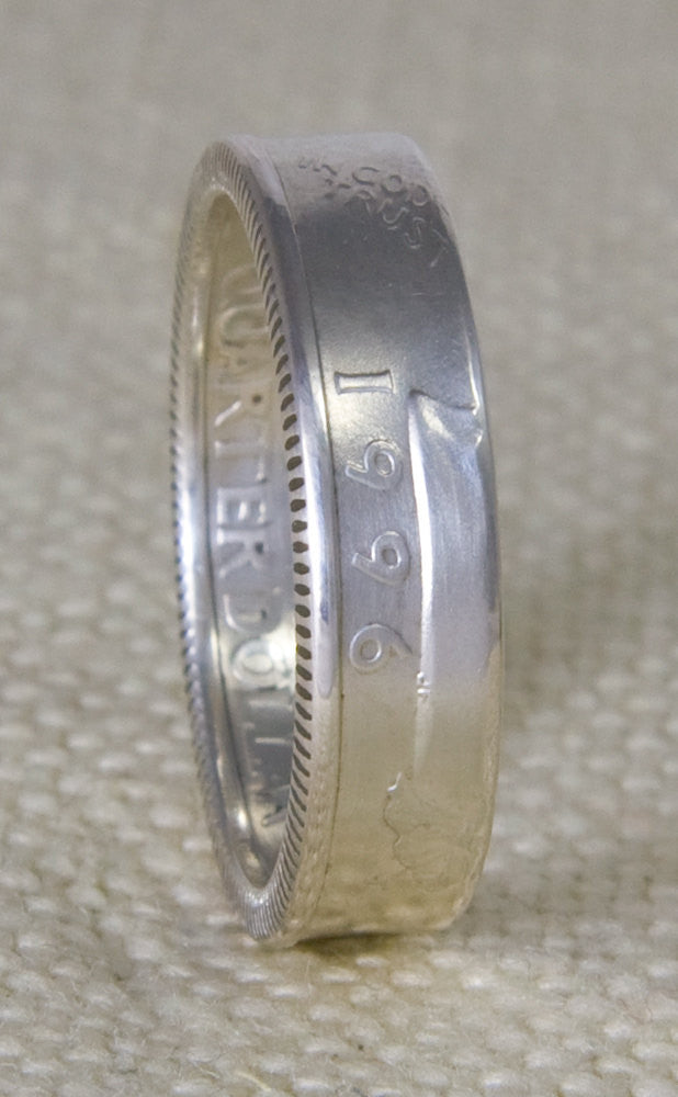 1996 Silver Washington US Quarter Dollar Double Sided Coin Ring Sizes 3-13 21st Birthday 21 Year Wedding Anniversary Gift Silver Coin Rings