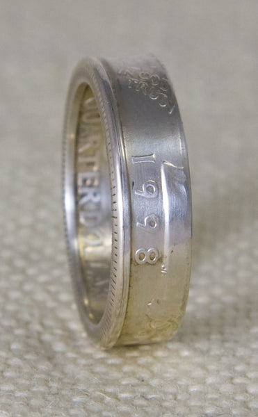 1998 90% Silver Washington US Quarter Dollar Double Sided 3D Coin Ring Wedding Band Sizes 3-13 19th Birthday Gift 19 Year Anniversary Gift