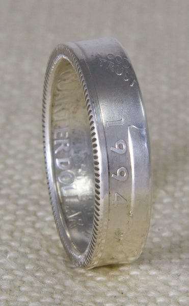 1994 90% Silver Washington US Quarter Dollar Double Sided 3D Coin Ring Wedding Band Sizes 3-13 23rd Birthday 23 Year Old Anniversary Gift