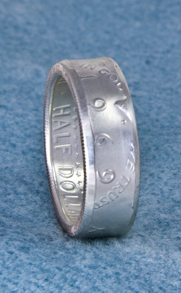 1969 JFK Kennedy Silver Coin Ring US Half Dollar Double Sided Sz 7-17 Polished Matte-Plat Finish 48th Birthday Gift 48 Year Anniversary