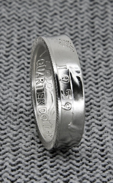 1932 Silver Washington US Quarter Coin Ring 3D Silver Wedding Band Sizes 3-13 In God We Trust Liberty Coin Rings Unique Gift Memory of Mom
