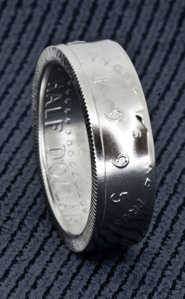 1995 Silver JFK Kennedy US Half Dollar Double Side Polished Coin Ring Size 8-18 Men's 22nd Anniversary Wedding Band 90% Silver Coin Rings 22