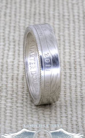 2015 Silver Coin Ring Quarter Nebraska Louisiana North Carolina Delaware New York Wedding Band Sz 3-13 Two Year Anniversary Gift NE La NC DE
