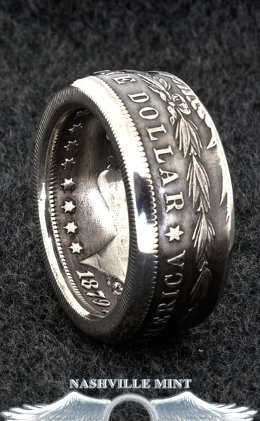 1880 Silver Morgan Dollar Coin Ring Sizes 10-20 Half Unique Gift Men's Large 3D Coin Wide Band Ring Double Sided 37th Birthday Gift