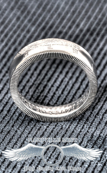 1992 Silver JFK Kennedy US Half Dollar 3D Coin Ring Size 7-17 Mens 25th Birthday Gift 90% Silver Band 25 Year Wedding Anniversary Present