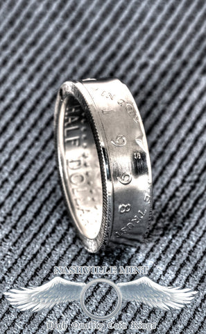 1998 Silver US Half Dollar Coin Ring JFK Kennedy Size 8-18 Men's 19th Anniversary Wedding Band 19th Birthday Gift Double Sided Polished