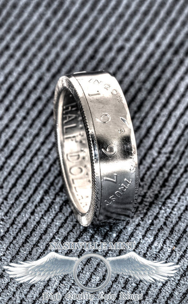 1997 Silver Coin Ring JFK Kennedy US Half Dollar Double Side Polished Men's 20th Birthday Gift Silver 20 Year Wedding Anniversary Size 7-17