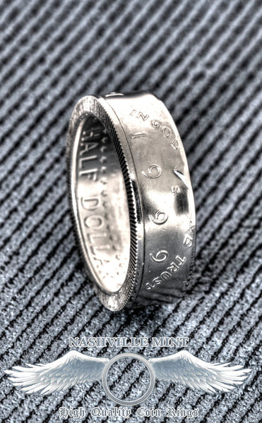 2008 Silver Proof JFK Kennedy Coin Ring Half Dollar Double Sided Size 7-17 9th Wedding Anniversary 90% Silver Liberty In God We Trust Rings