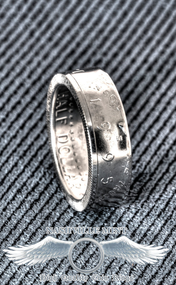 1994 Silver US Half Dollar Men's Coin Ring 90% Silver JFK Kennedy Band Double Side Polished Sz 7-17 23rd Birthday Gift Wedding Anniversary
