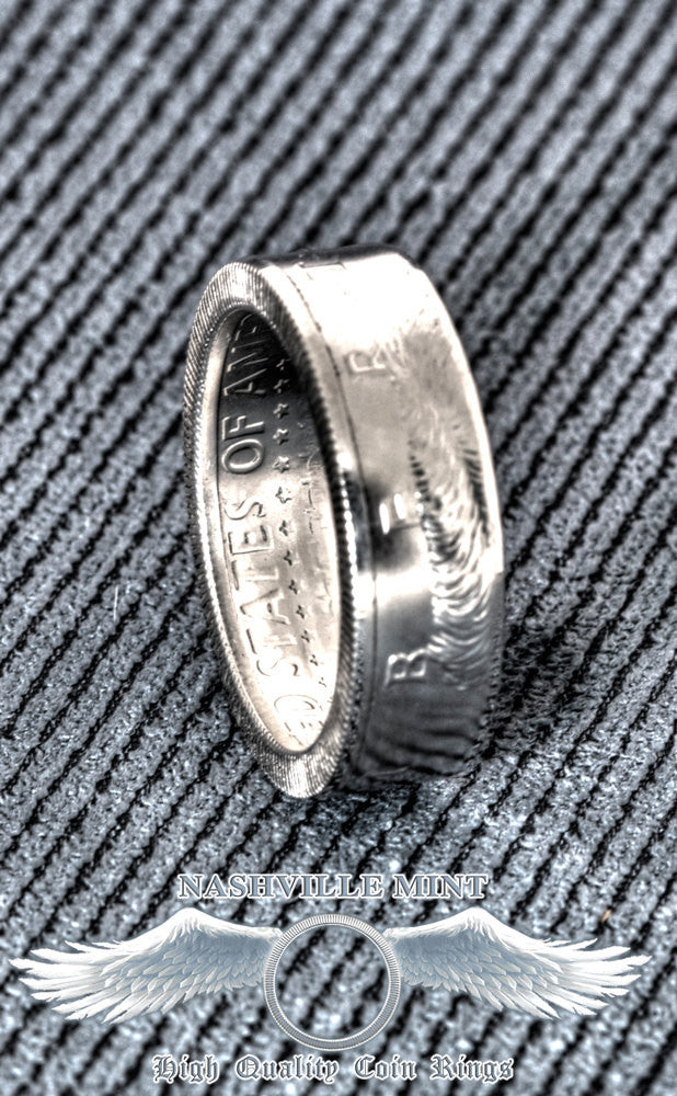 2009 Silver Proof JFK Kennedy Coin Ring Half Dollar Double Side Size 7-17 8 Year 8th Wedding Anniversary Silver Band Liberty In God We Trust