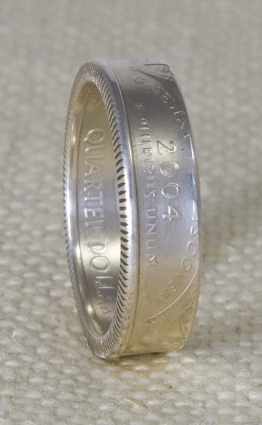 2003 Silver Coin Ring State Quarter Dollar Illinois Alabama Missouri Arkansas Maine 14 Year Wedding Anniversary 14th B-day Gift Band Sz 3-13