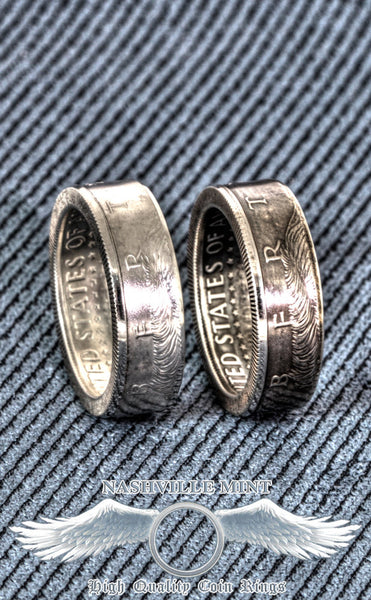 2000 Silver JFK Kennedy US Half Dollar Double Side Polished Coin Ring Size 7-17 Men's Wedding Band 17th Anniversary Gift 17th Birthday