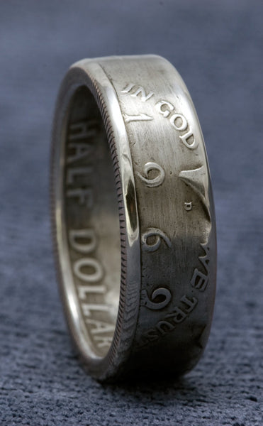 1968 JFK Kennedy Silver Coin Ring US Half Dollar Double Sided Size 7-17 49 Year Wedding Anniversary 49th Birthday Gift Unique Wedding Band