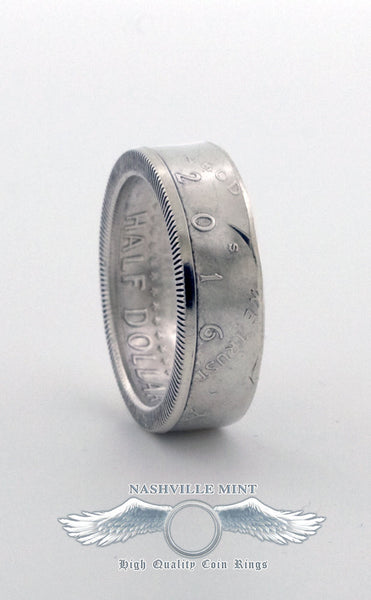 2017 Silver Half Dollar Coin Ring US JFK Double Side CoinRing Wedding Band Anniversary Gift Size 7-17 Class Ring Graduation Gift Coins Rings