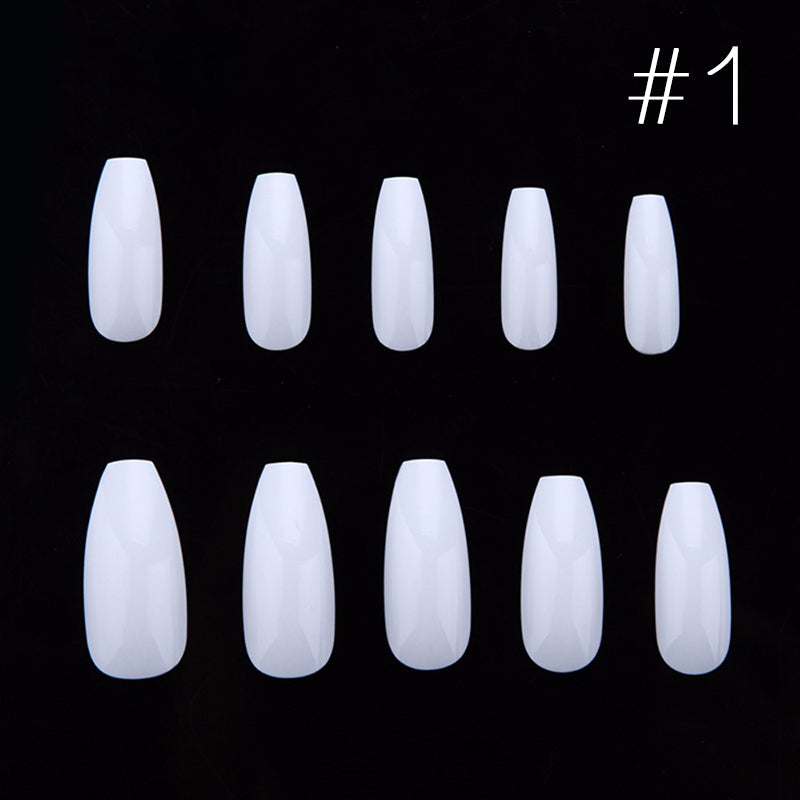 Coffin Shape Acrylic French Nail Tips – LuxJungle.com