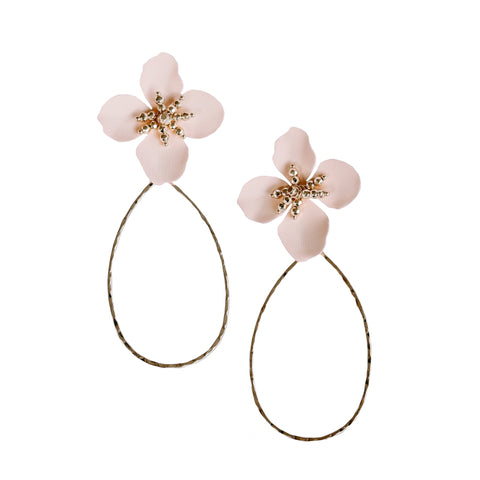 Kora Flower Hanging Earring - Nude + Gold