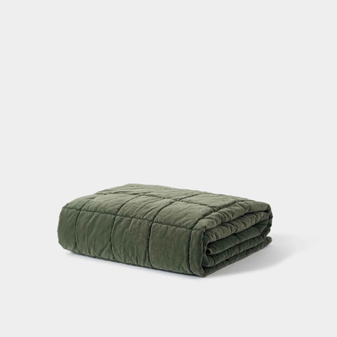 Washed Velvet Quilted Throw (Kale) - 130 x 180cm