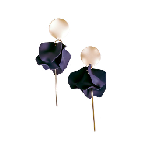 Esta Hanging Flowers Earring - Navy + Gold