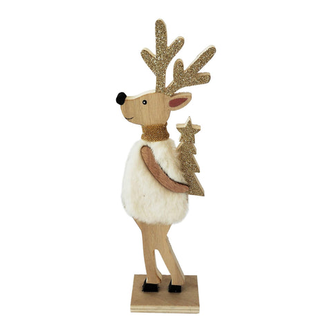 Fluffy Reindeer Holding Tree Table Decoration